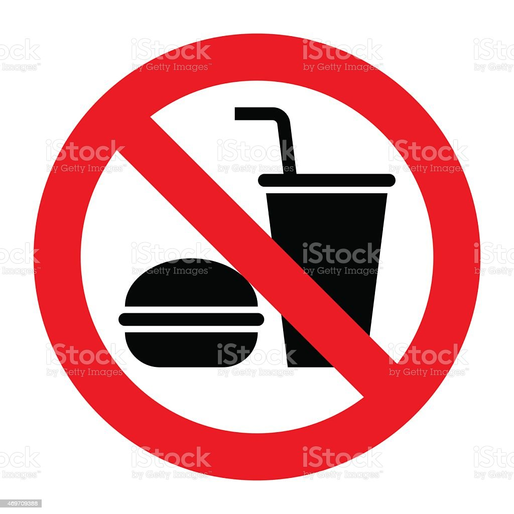 No eating and no drinks allowed vector art illustration