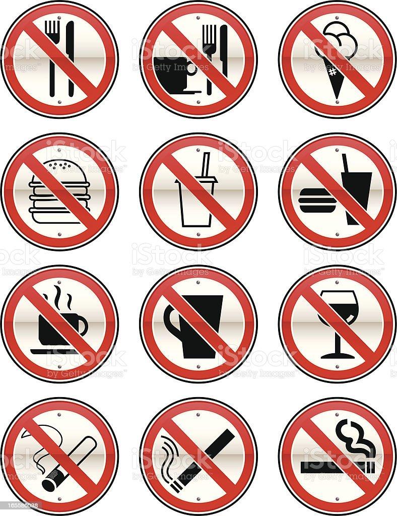 No Eating, Drinking & Smoking Signs royalty-free stock vector art