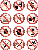 Collection of signs for NO EATING, NO DRINKING & NO SMOKING.