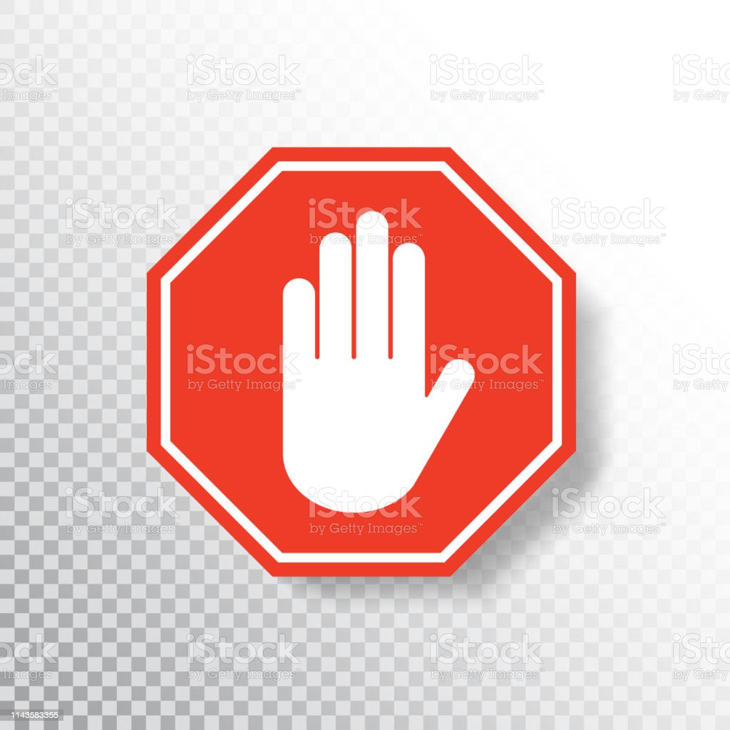 No Entry Hand Sign On Transparent Background Red Stop Sign