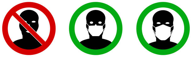 No entry without / please wear face mouth mask icon. Sign can be used during coronavirus covid19 outbreak prevention vector art illustration