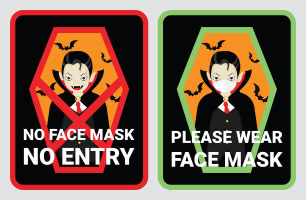 No face mask, No entry to protect & prevent from Coronavirus or Covid-19. Warning sign vector for notice people or visiter beware and wear face mask before enter the stores, supermarkets on Halloween No face mask, No entry to protect & prevent from Coronavirus or Covid-19. Warning sign vector for notice people or visiter beware and wear face mask before enter the stores, supermarkets on Halloween. halloween covid stock illustrations