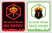 No face mask, No entry to protect & prevent from Coronavirus or Covid-19. Warning sign vector for notice people or visiter beware and wear face mask before enter the stores, supermarkets on Halloween.