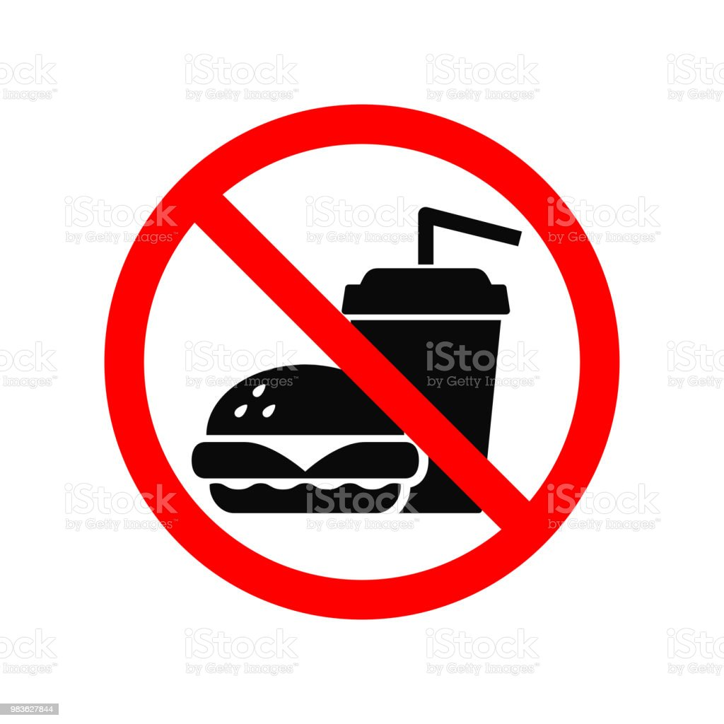 No Fast Food Allowed Symbol Isolated On White Prohibition Sign Stock