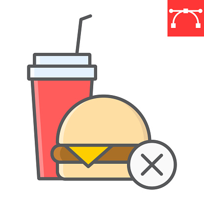 No fast food color line icon, fitness and diet, no food sign vector graphics, editable stroke colorful linear icon, eps 10.