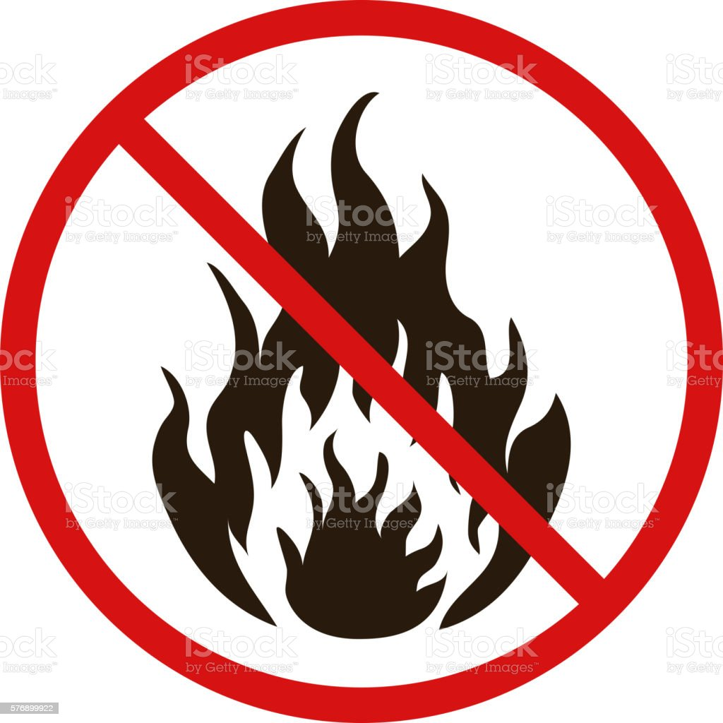 No fire forbidden sign on white vector art illustration