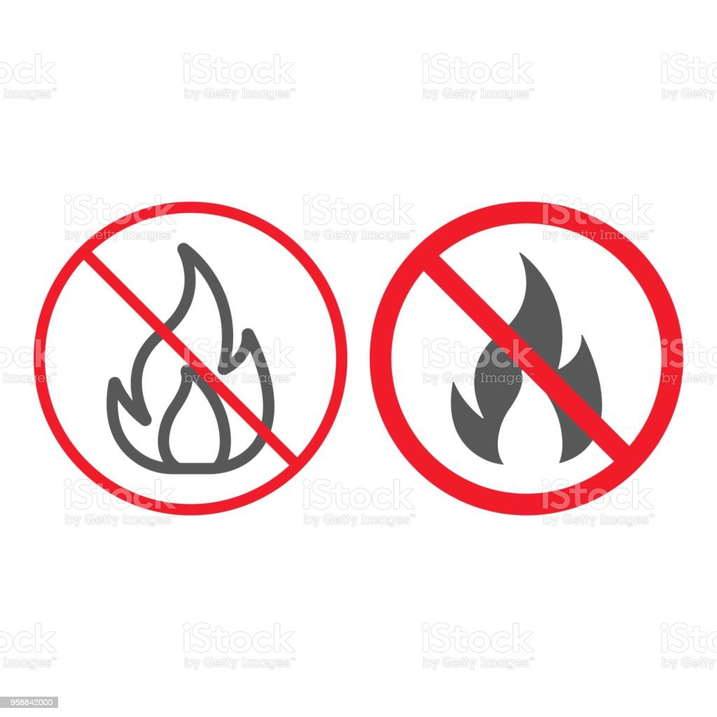 No Fire line and glyph icon, prohibition and forbidden, no flame sign vector graphics, a linear pattern on a white background, eps 10. vector art illustration