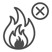 No fire line icon, Safety engineering concept, Prohibition open flame symbol sign on white background, Fire symbol in outline style for mobile concept and web design. Vector graphics