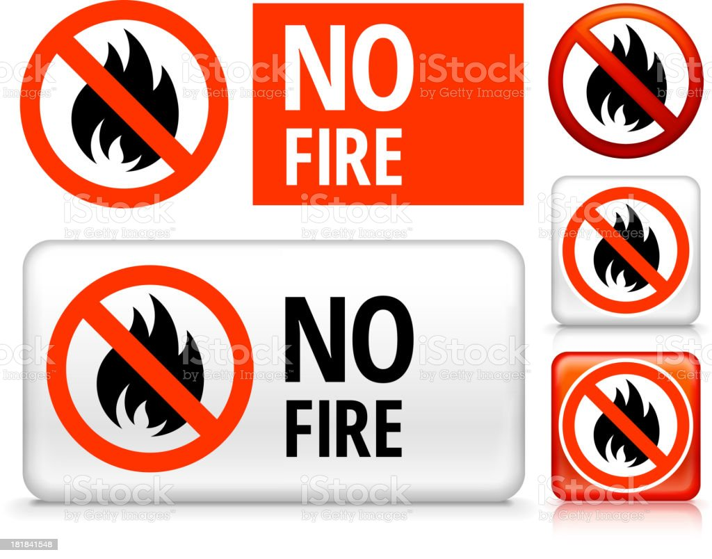 No Fire royalty free vector art Buttons royalty-free stock vector art