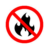 No Fire Sign icon isolated on white background. Black flame in red crossed circle. Simple flame prohibition symbol in flat style. Vector illustration