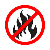 No fire sign. No flame icon. Prohibition sign stop fire. Abstract isolated symbol on white background. Vector illustration