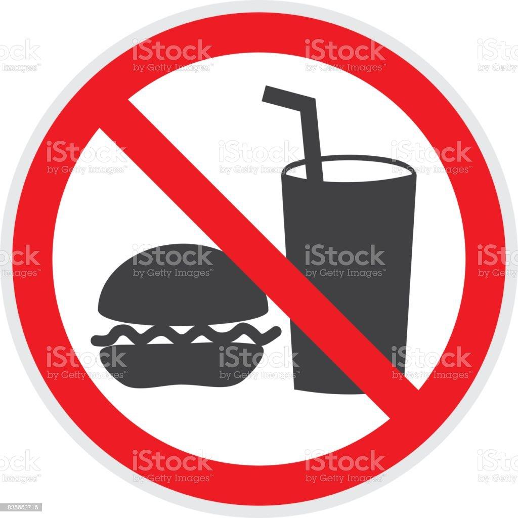 No Food or Drink Sign vector art illustration
