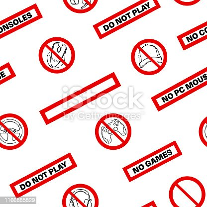istock No games. No consoles. No gamepad seamless pattern. No joystick sign. Forbidden gamepad icon. Prohibited gaming icon set, line sign design. Do not play games. Stickers. Line concept art with izolated back 1166885829