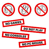 istock No games set icon. Forbidden gamepad icon. Prohibited gaming icon set, line sign design. Do not play games. Stickers. Line concept art with izolated back 1166885844