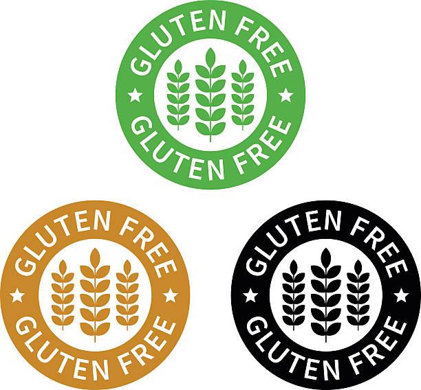 illustrations, cliparts, dessins animés et icônes de sans gluten et sans gluten étiquette alimentaire ou autocollant icône plate - sans gluten