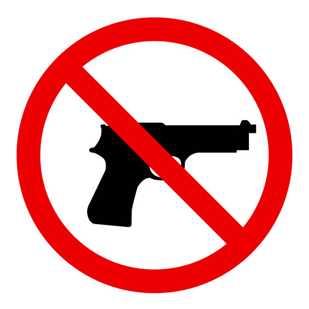 No gun No gun allowed sign. Symbol, illustration gun stock illustrations