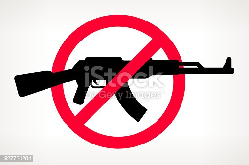 US Map No Gun Violence Vector Poster. The gun is placed in a red forbidden circle over the outlines of the map. The gun is black in color and the map is beige. It is on a light background with a slight gradient. The image represents a growing campaign to end gun violence and to ban semi-automatic and automatic weapons.