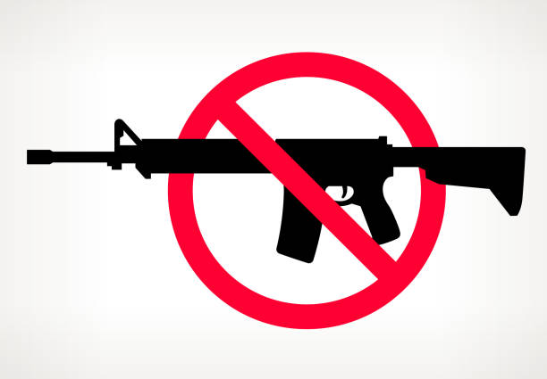 No Gun Violence Vector Poster US Map No Gun Violence Vector Poster. The gun is placed in a red forbidden circle over the outlines of the map. The gun is black in color and the map is beige. It is on a light background with a slight gradient. The image represents a growing campaign to end gun violence and to ban semi-automatic and automatic weapons. ar 15 stock illustrations