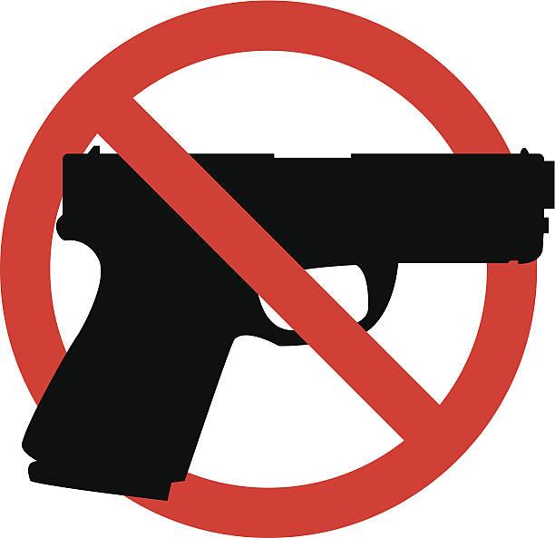 No guns sign, black gun outline in red crossed circle vector art illustration
