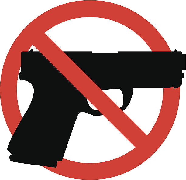 No guns sign, black gun outline in red crossed circle simple no guns symbol gun stock illustrations