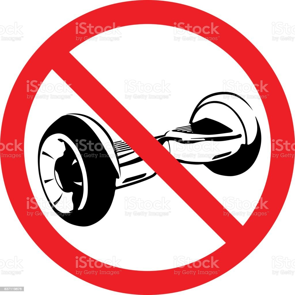 No gyroscooter riding sign.  No electric scooter allowed vector illustration. vector art illustration