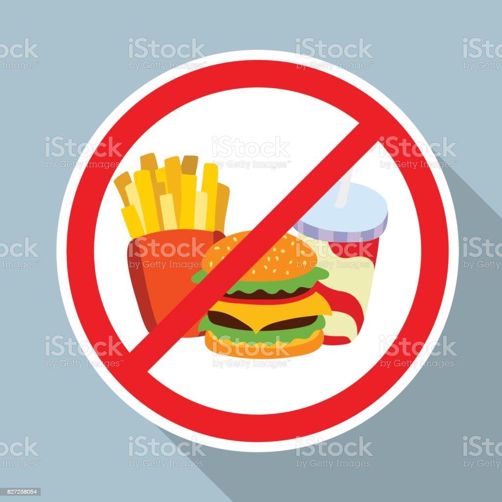 Ninguna hamburguesa, papas fritas y refresco permiten signo. - ilustración de arte vectorial