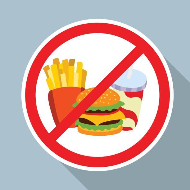 keine hamburger, pommes frites und softgetränk erlaubte zeichen. - ungesunde ernährung stock-grafiken, -clipart, -cartoons und -symbole