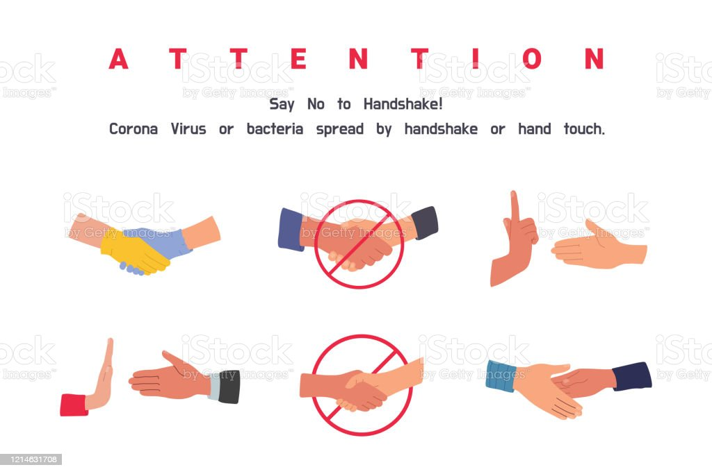 No Handshake Do Not Contact Precautions And Prevention Of Coronavirus Disease No Physical Contact Warning Dangerous Infection On Hands Flat Cartoon Colorful Vector Illustration Stock Illustration Download Image Now Istock