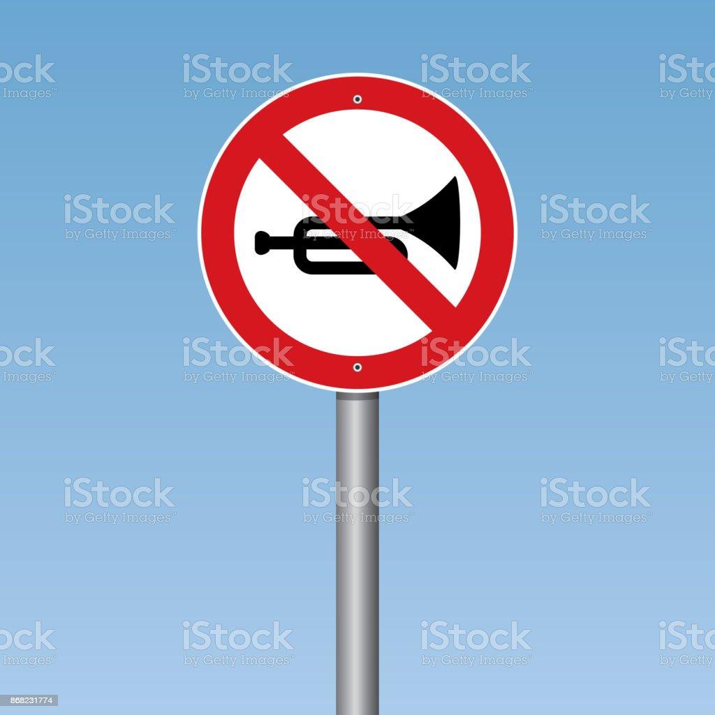 No Horn Traffic Road Sign vector art illustration