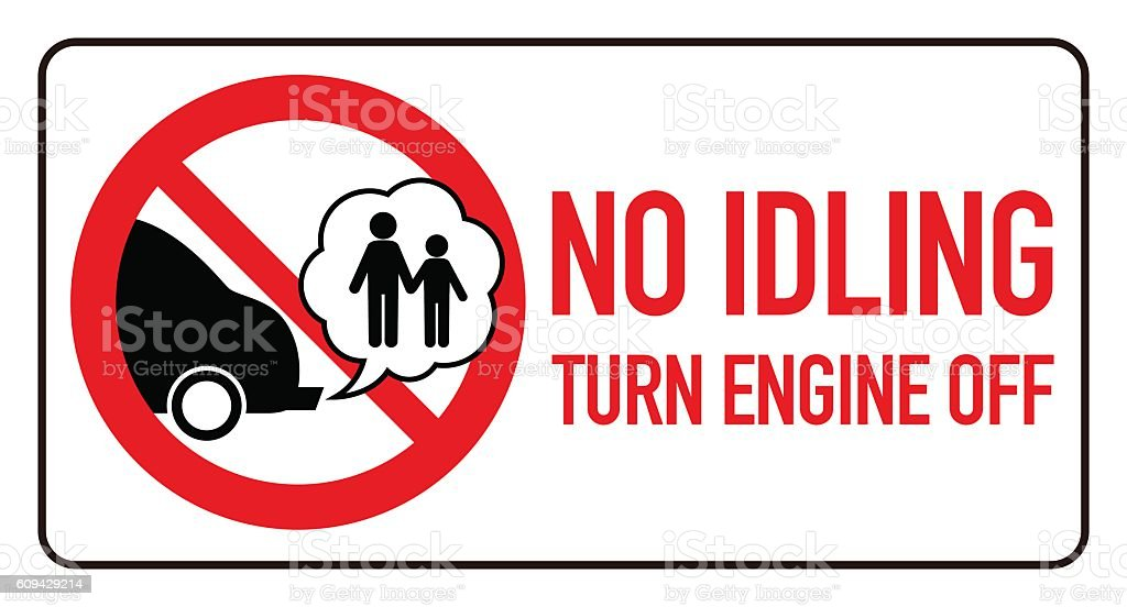 no idling or idle reduction sign, vector illustration