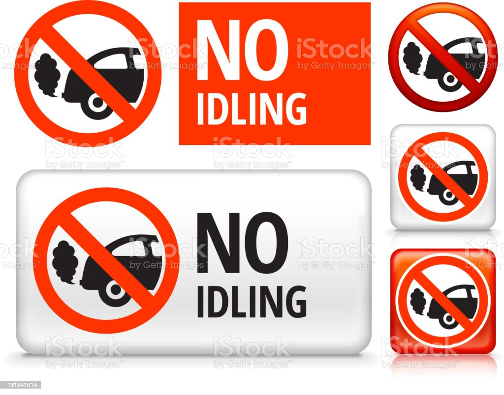 No Idling royalty free vector art Buttons royalty-free stock vector art