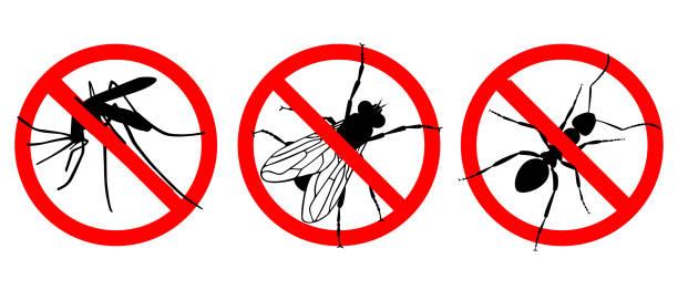 illustrazioni stock, clip art, cartoni animati e icone di tendenza di no insects - attrezzatura per la disinfestazione