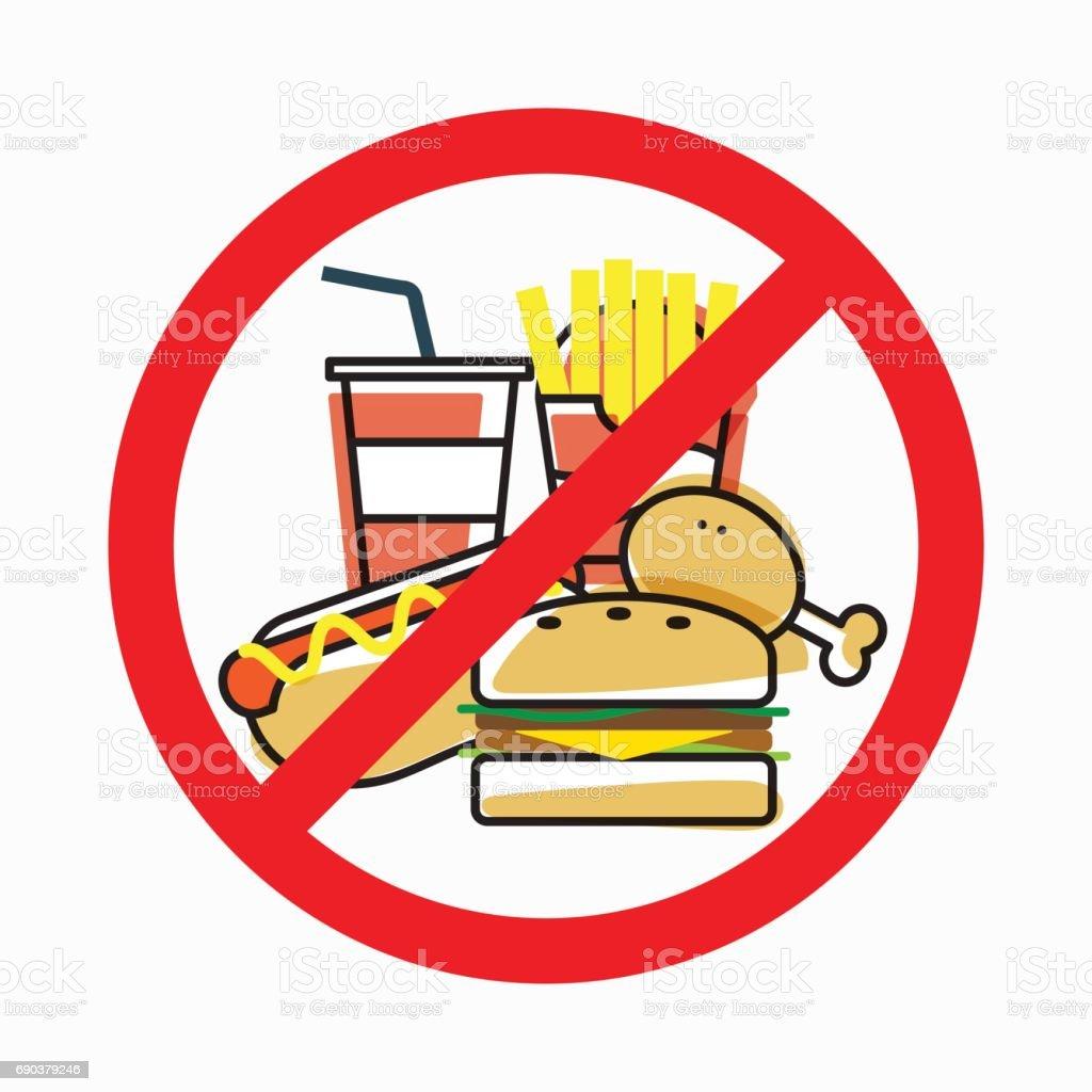 Sem comida, Stop insalubre - ilustração de arte em vetor
