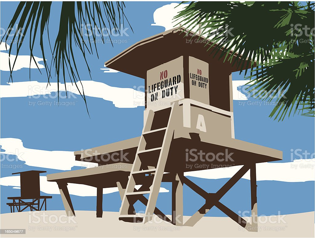 No Lifeguard on Duty vector art illustration