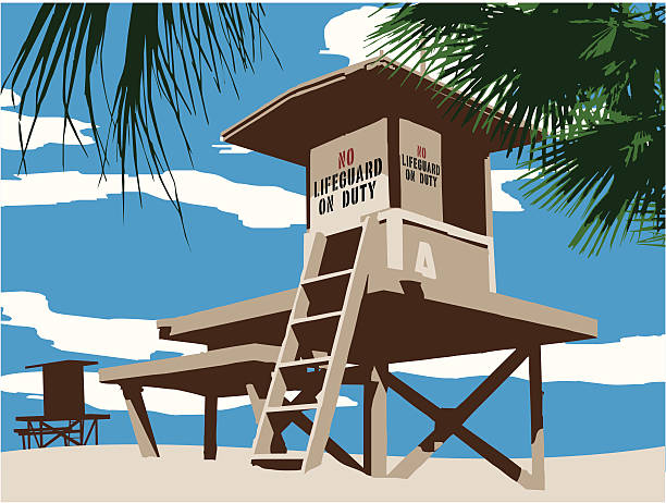 No Lifeguard on Duty vector art illustration