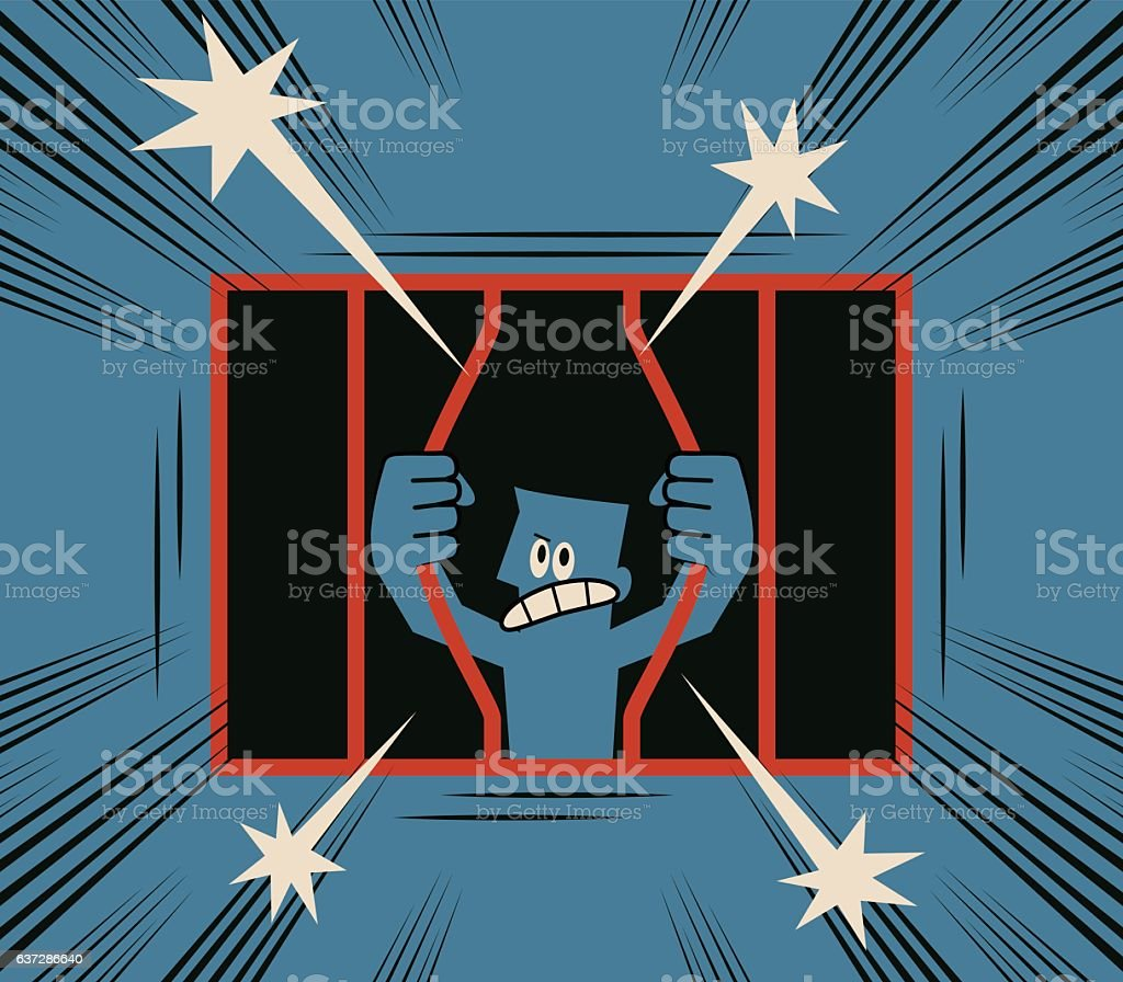 No limit, Businessman gets rid of cage (escapes from cage) vector art illustration