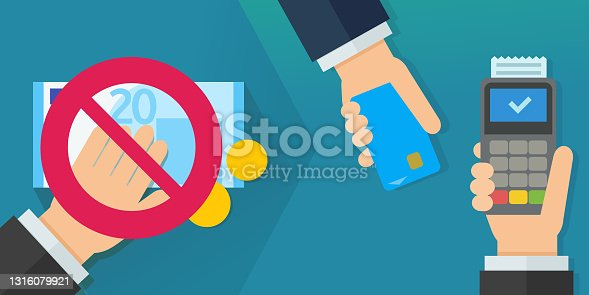 istock No longer paying in cash and paying by credit card (euros flat design) 1316079921