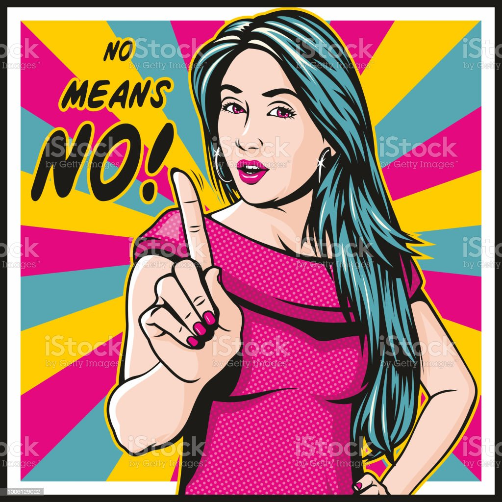 No Means NO! vector art illustration