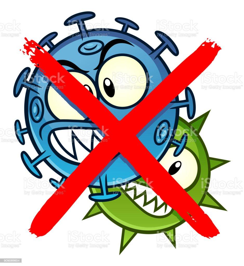 Aucun Microbes Ne Cartoon Signe Vecteurs libres de droits et plus ...