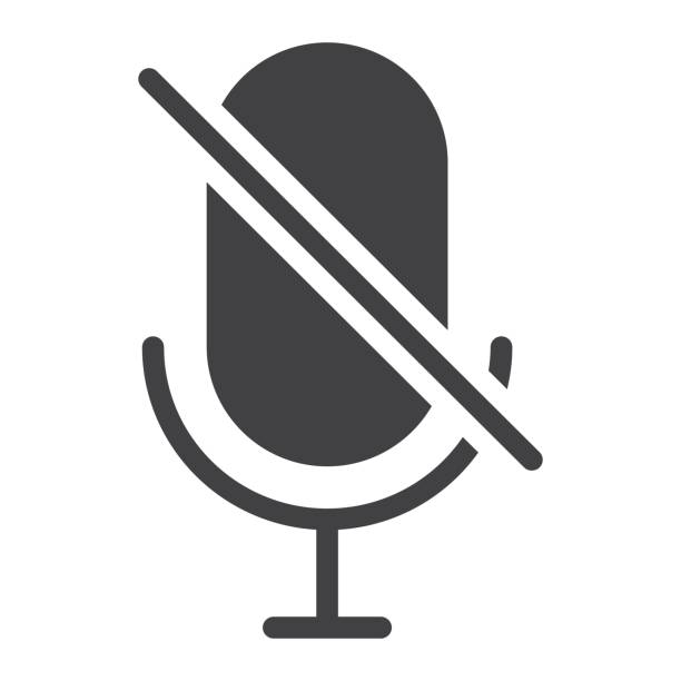 No Microphone glyph icon, web and mobile, no record sign vector graphics, a solid pattern on a white background, eps 10. No Microphone glyph icon, web and mobile, no record sign vector graphics, a solid pattern on a white background, eps 10. south caucasus stock illustrations