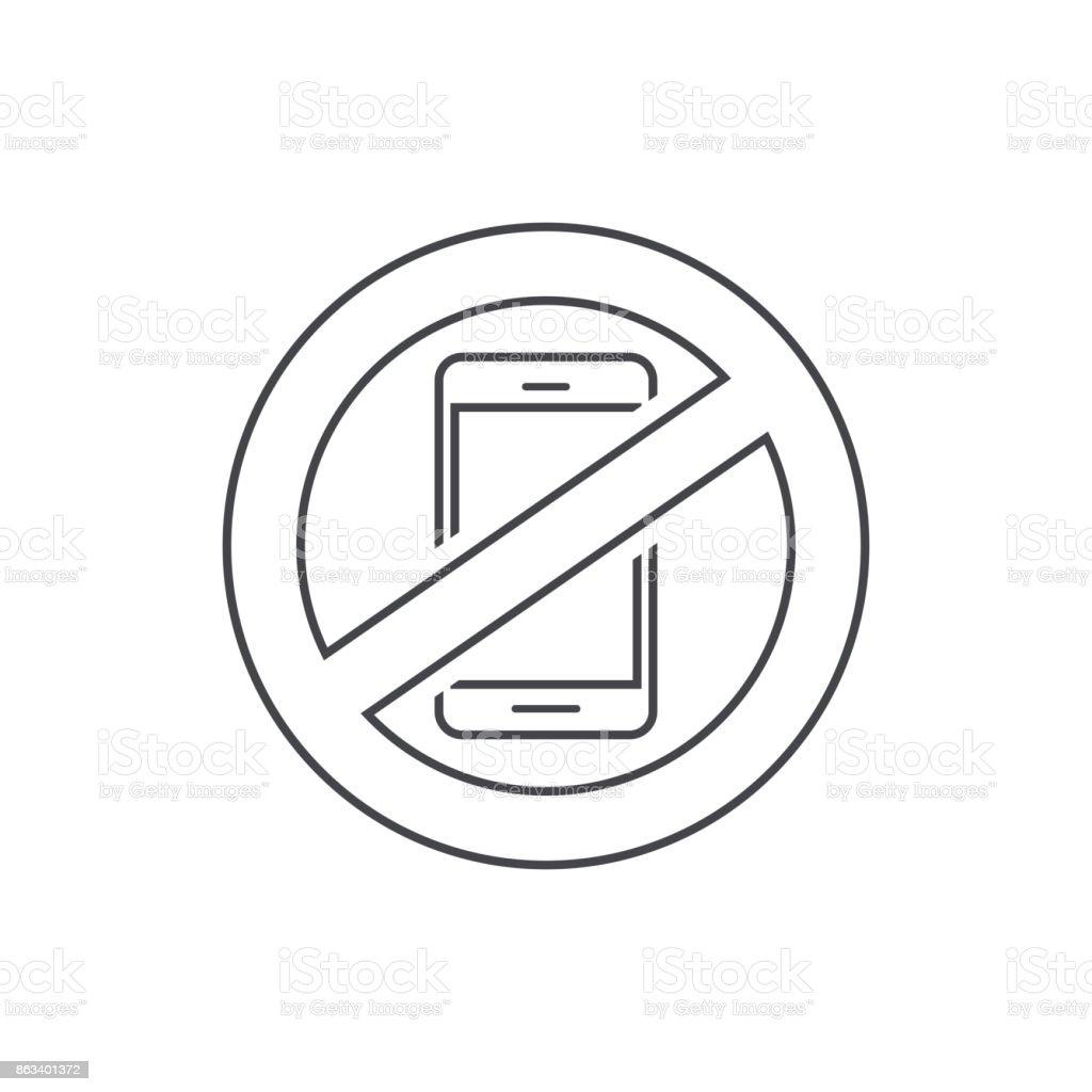 No Mobile Phone Sign Vector Illustration Line Outline Stop