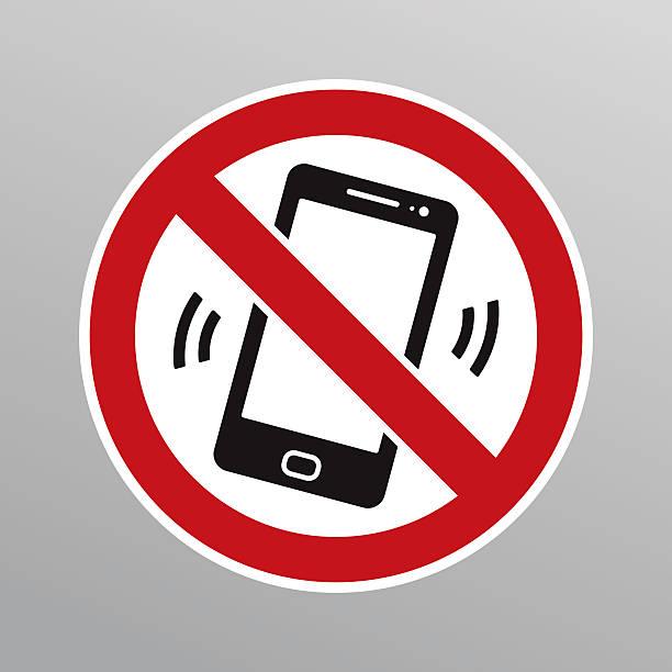 illustrazioni stock, clip art, cartoni animati e icone di tendenza di no cellulari firmare - proibizione