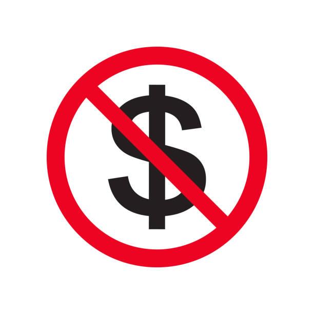 нет денег плоский вектор значок нет наличных денег. красный знак запрета. остановить изоляцию символа коррупции на белой фоновой иллюстрац - white background stock illustrations