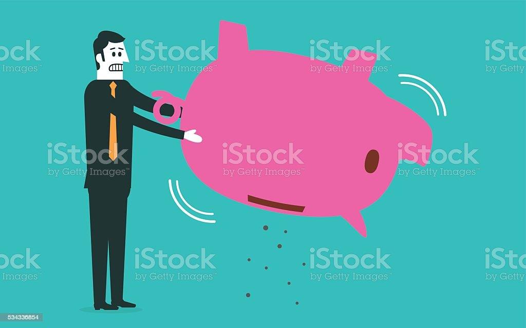 No money in the piggy bank vector art illustration