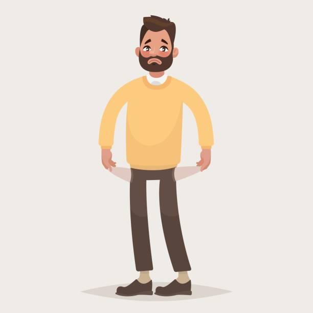 ilustraciones, imágenes clip art, dibujos animados e iconos de stock de no hay dinero.  hombre con bolsillos dado vuelta hacia fuera. ilustración de vector - bancarrota