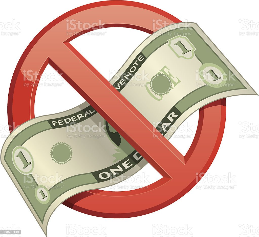 No Money Symbol royalty-free stock vector art