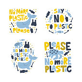 No more plastic word concept banners set