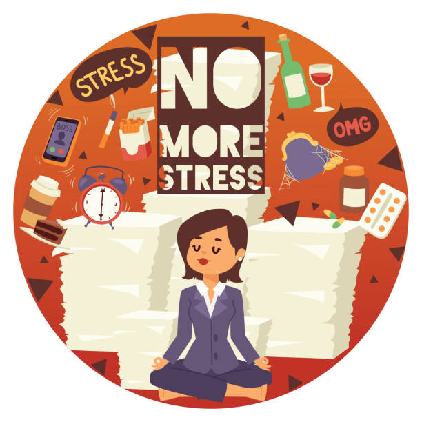 no more stress motivation background vector illustration. young, calm, cartoon woman sittting and meditating. female surrounded by different stressors. financial and time management. - evil money stock illustrations, clip art, cartoons, & icons