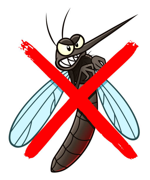 illustrazioni stock, clip art, cartoni animati e icone di tendenza di no mosquito cartoon sign - zanzare