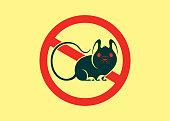 vector illustration of no mouse warning symbol